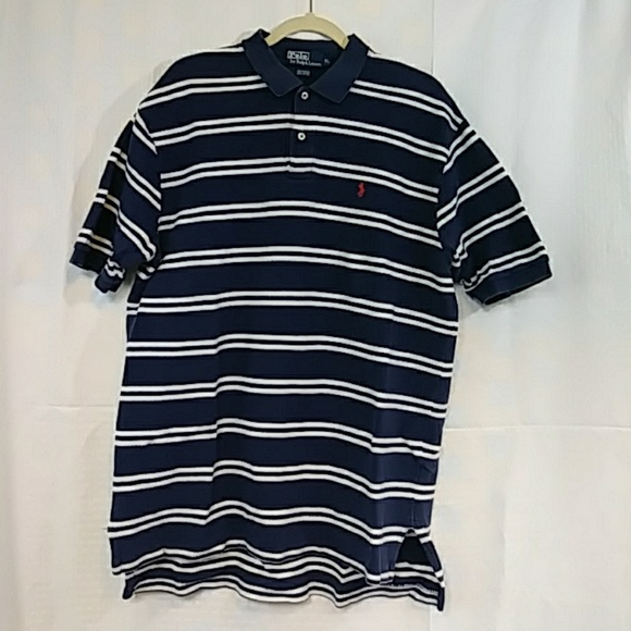 Polo by Ralph Lauren Blue/White Stripe Men's XL